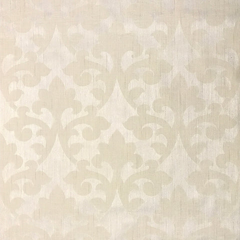 175019 Cream Damask Ivory Flocking Portofino Wallpaper