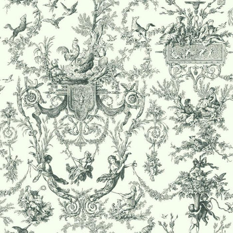 AT4237 Old World Toile Sure Strip Wallpaper