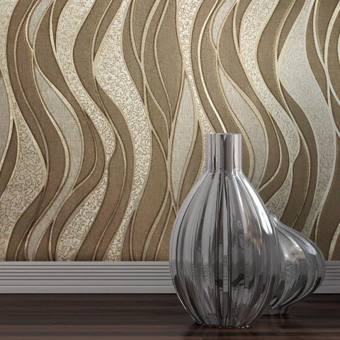 8562-12 textured Wave lines brown Gold Metallic Wallpaper embossed damask