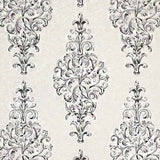 3543-10 White Black Damask Victorian Textured Wallpaper