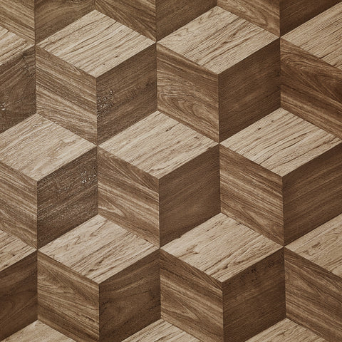 WMNF23212301 brown geometric cube 3D illusion textured Wallpaper