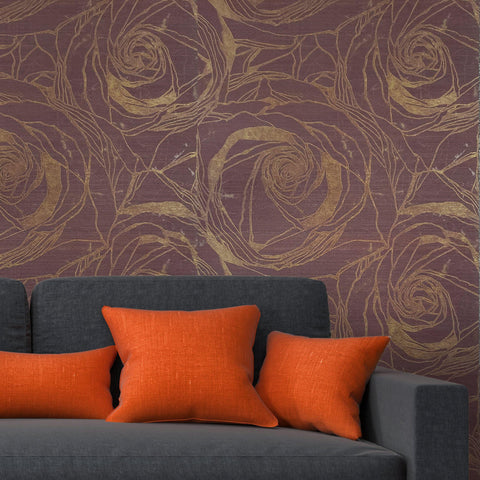 125010 Wallpaper burgundy Gold Metallic Textured large flowers floral Roses 3D - wallcoveringsmart