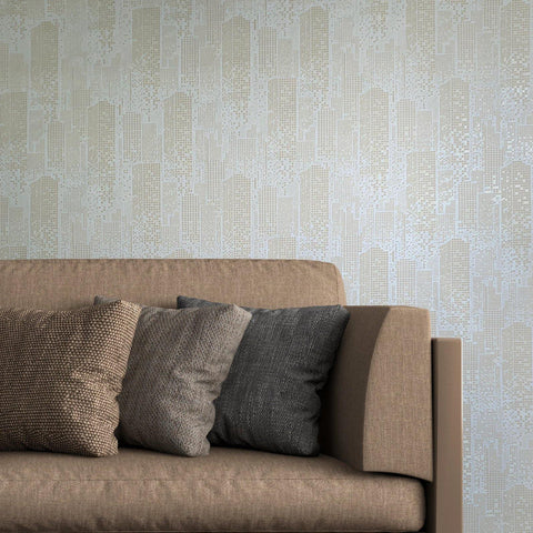 1211-05 Non-Woven Wallpaper city mosaic graphic textured roll beige - wallcoveringsmart