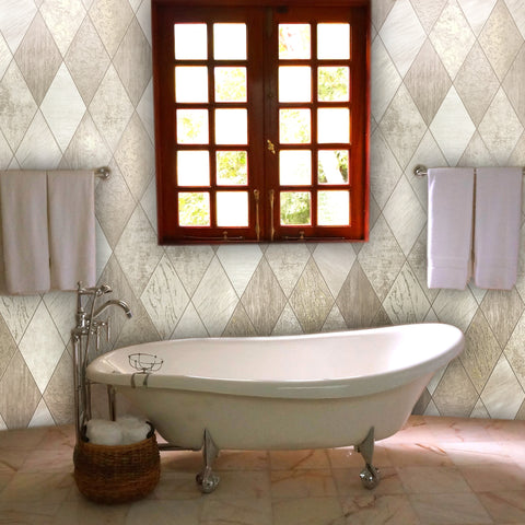 5586-01 Wallpaper beige gold ivory Textured Modern faux diamond Tiles