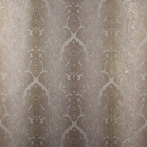 L843-02 Cream Gold Beige Damask Wallpaper Roll