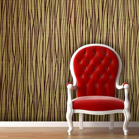 135065 Portofino Wallpaper Flock Burgundy Red Gold Metallic Lines