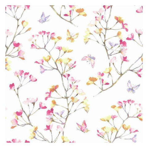 KI0516 Watercolor Branch Sure Strip Wallpaper - wallcoveringsmart