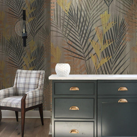 255000 Bronze Metallic Textured Floral Tropical leaves - wallcoveringsmart