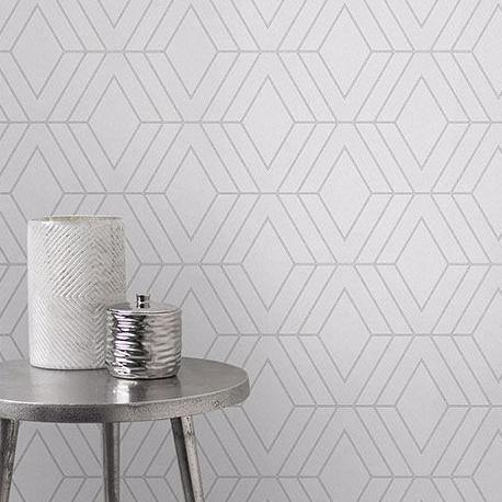 WM423440 Geometric Gray Silver Glitter Triangle Wallpaper