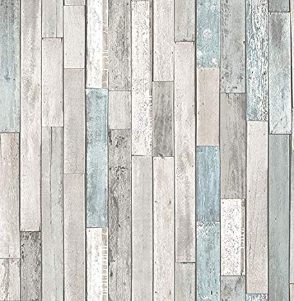FD23273 Distressed Barn Blue Teal Wood Planks Beachwood Wallpaper