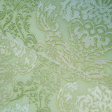 6513-04 Green white gold Vintage Victorian damask Paper Wallpaper
