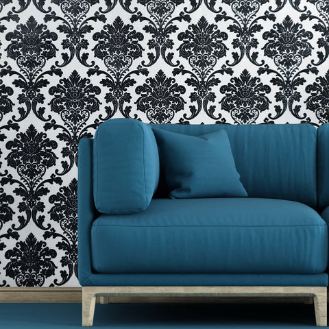 195019 White Black Flock Damask Wallpaper