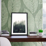 135004 Leaf Floral Green Gold Textured Wallpaper - wallcoveringsmart