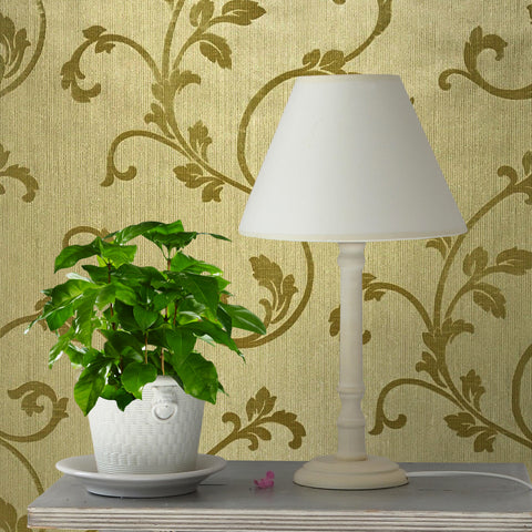 175027 Portofino Mustard Gold Flock Damask Velvet Wallpaper