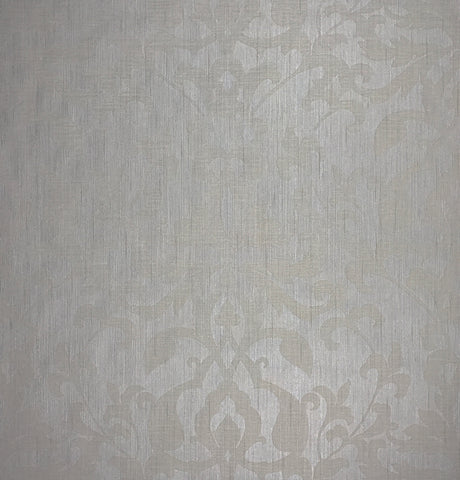 175021 Portofino Flocking Wallpaper Ivory Textured Damask Velvet