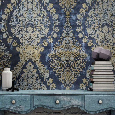 76011 Portofino Textured black gray gold Metallic Floral damask 3D Wallpaper