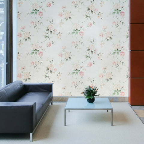 78029 Portofino Floral pink rose flowers cream Textured Wallpaper