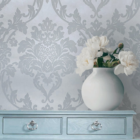 225004 Portofino Silver Grey Damask Flock Wallpaper