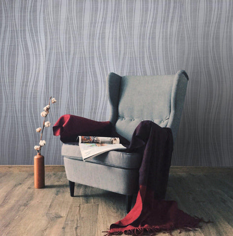 135081 Flocked Gray Silver Flock Wave lines Portofino Velvet Wallpaper