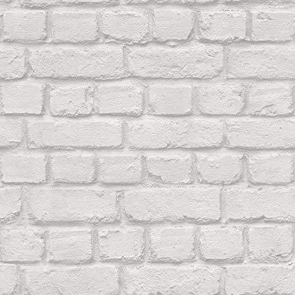 WM22671301 White Gray Rustic Brick Textured Industrial Wallpaper