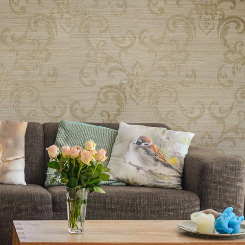WM8801701 Brass damask Taupe Tan Gold metallic faux grasscloth wallpaper