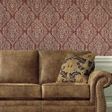 5527-13 Burgundy Damask - Double roll Wallpaper