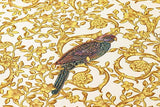 37053-2 Barocco Birds White Gold Floral Textured Wallpaper