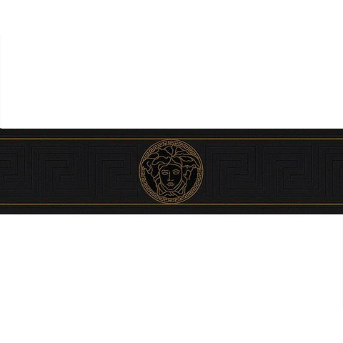 93522-4 Medusa Greek Key Black Gold Border