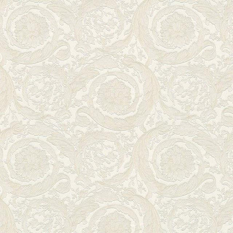 93583-5 Versace Barocco Flowers White Textured Nonwoven Wallpaper