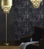 115013 Charcoal Gray Black Flock Animal Fur Velour Wallpaper