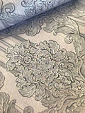 8102-06 Silver Gray Damask Duplex Vintage textured 3D Wallpaper