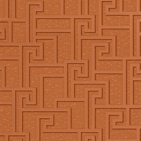 96236-2 Red Copper Metallic Greek Key Wallpaper