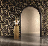 96240-1 Brass Gold Black Banana Leaf Palm Leaves Wallpaper - wallcoveringsmart
