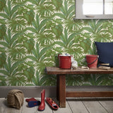 96240-5  Palm Banana Leaves Leaf White Green Wallpaper