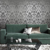 165034 Silver Metallic Flock Damask Wallpaper