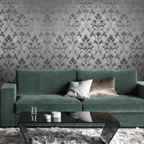 165034 Silver Gray Metallic Flock Damask Velvet Wallpaper