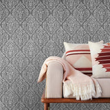 5527-10 Gray White Rustic Damask roll Wallpaper