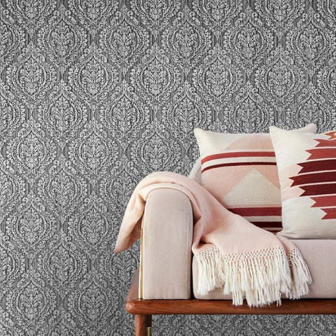 5527-10 Gray White Damask - Double roll Wallpaper