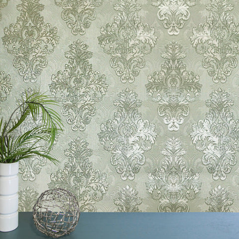 Vintage paper Wallpaper damask gray green metallic cream textured