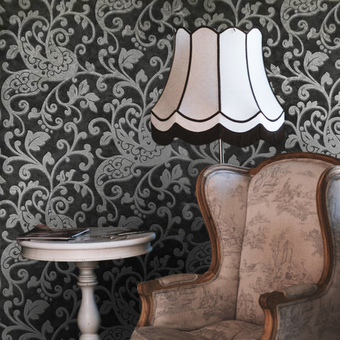 500012 - Black Charcoal Silver victorian Damask textured Wallpaper