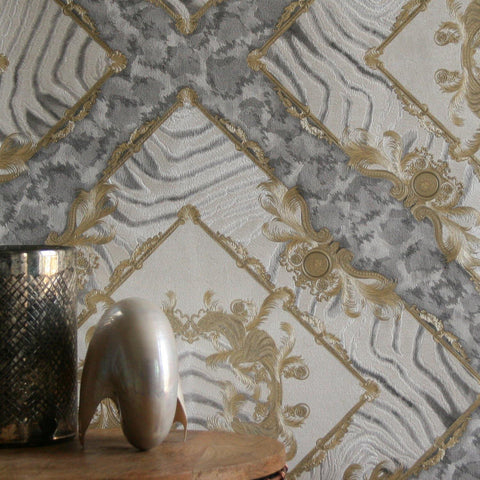 34904-2 Vasmara Gold Gray White Wallpaper - wallcoveringsmart