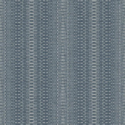 FH4011 York Market Stripe Pattern Navy Blue Plain Farmhouse Wallpaper