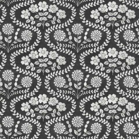 FH4022 York Farmhouse Folksy Floral Rustic Black Off White Wallpaper