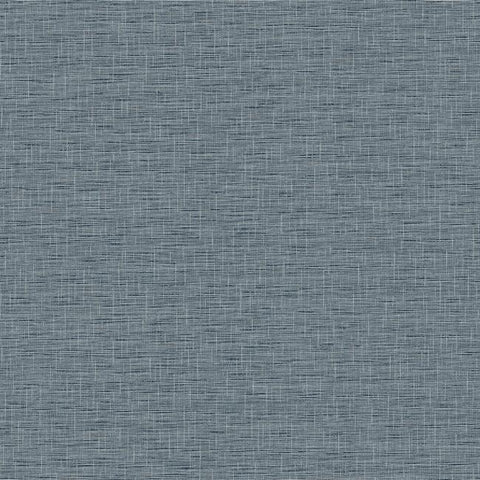 FH4057 York Silk Linen Weave Rustic Farmhouse Navy Blue Plain Wallpaper