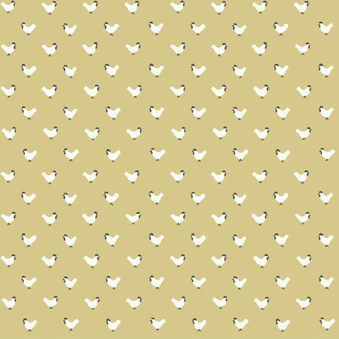FH4074 York Roost Animal Rustic Farmhouse Yellow Wallpaper