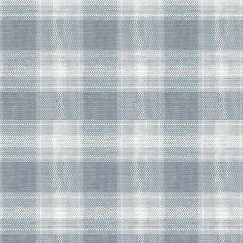 FH4084 York Blue Woven Buffalo Check Plaid Rustic Farmhouse Wallpaper