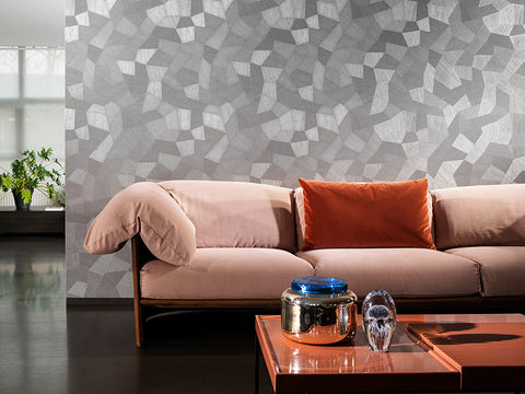 26540 Focus Facet Gray Textured Geometric Modern Wallpaper
