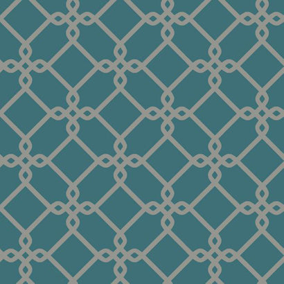 GE3628 Threaded Links Turquoise Grey Wallpaper