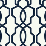 GE3664 Hourglass Trellis White Navy Blue Wallpaper
