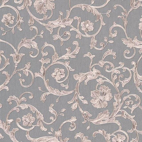 34326-5 Butterfly Barocco Gray Off-white Taupe Wallpaper - wallcoveringsmart